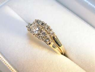 11 Diamond 0.56TDW Wedding Ring Set   GIA Appraised $1350.00