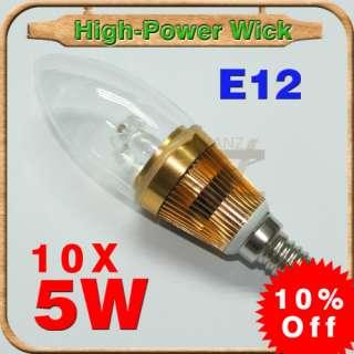 lot 10 5W Candelabra E12 Warm White LED Candle Bulb Light Lamp
