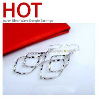 pair Gold&silver Fashion jewelry double loop wave earring For Xmas