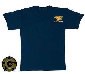 US NAVY SEAL TEAM Insignia T Shirt Lightweight Soft Navy Blue Cotton