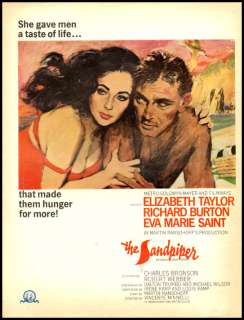 1965 movie ad for the Sandpiper  Elizabeth Taylor  94