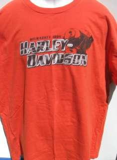 vtg HARLEY DAVIDSON TWIN CITIES Orange Tee 2XL