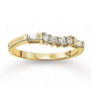 14k Yellow Gold Round Baguette Diamond Wedding Ring Jewelry