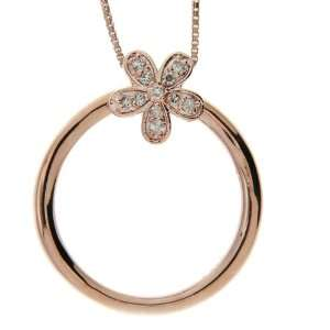 Pink Gold Plated Sterling Silver Diamond Flower Two in One Pendant and