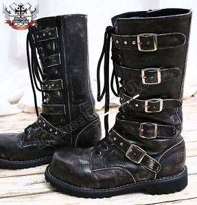 Visual Kei/Gothic/CYBER 5 strap BOOT 9/9.5 ASH BLACK 41