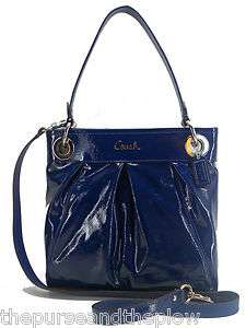 NEW! COACH HANDBAG COBALT BLUE ASHLEY PATENT LEATHER HIPPIE NWT