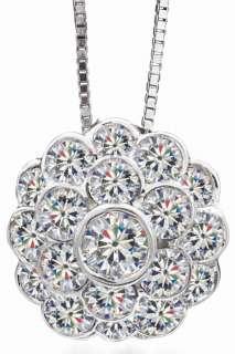 Moissanite 2 ct Bezel Round Pendant Necklace White Gold