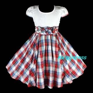 New Girls Spring Summer Party Birthday Dress Wears Children Reds SZ 4T