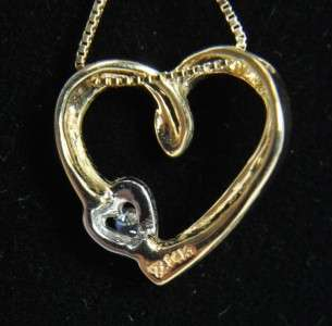 Two Tone 14K Gold Diamond Open Heart Pendant Necklace
