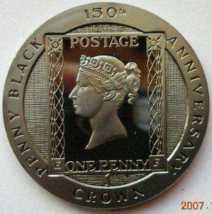 Isle of Man 1990 Penny Black Crown Silver Coin,Proof