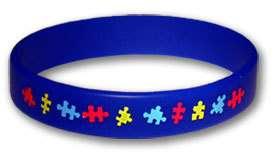 Autism Awareness Rubber Bracelet   Adult Size