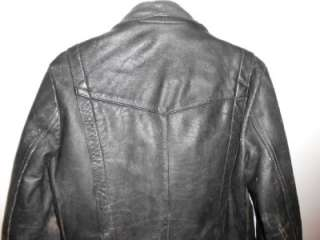 Beautifully TRASHED Classic Heavy Duty Black Leather MOTORCYCLE JACKET
