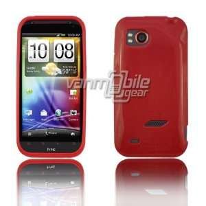 VMG HTC Rezound TPU Rubber Skin Case Cover 2 ITEM COMBO PACK Red Solid