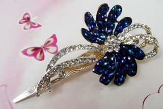 CLEAR SWAROVSKI CRYSTAL BIG FLORAL HAIR BARRETTE CLIP 2