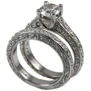 00 CT BRILLIANT ROUND ANTIQUE STYLE WEDDING SET SOLID .925 STERLING