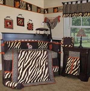 Baby Boutique   Brown Zebra 15 Boy Girl Crib Nursery Bedding Set