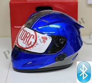 TORC Prodity T10B BLINC Full Face Bluetooth Motorcycle Helmet   Blue