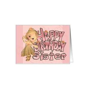 Sister Birthday Card With With Cute Little Girl Card