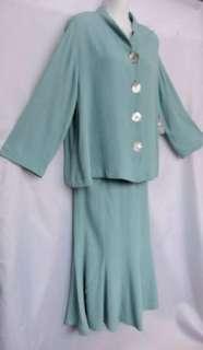 aqua seafoam blue RAYON CREPE blouse skirt OUTFIT M NWT $90 USA