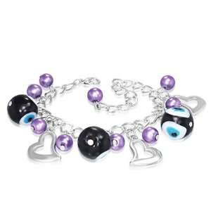 Purple Violet Pearl Evil Eye Love Heart Charm Womens Bracelet Jewelry