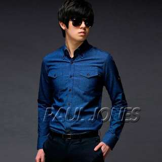 PJ Mens Casual Slim line Dress Shirts Cowboy Style 3SIZ