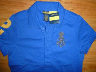 New Ralph Lauren Rugby Womens Beaded Skull Royal Blue Polo Shirt S