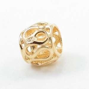 E12 Gold Bead Solid Silver European Bead Charm Fits Pandora Biagi