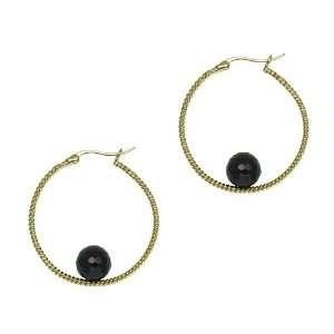 Sterling Silver Twisted Hoop with Black Cubic Zirconia Beaded Earrings