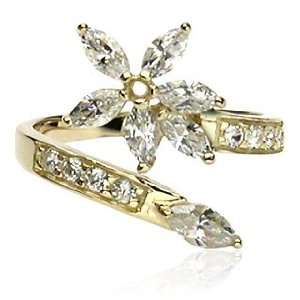 Gold Toe Ring With Cubic Zirconia Flower West Coast Jewelry Jewelry
