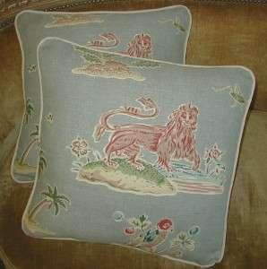 Clarence House Fabric Custom Designer Throw Pillows Home Decor Lion 2