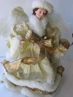 Paper Mache White Snow Angel Gold Traditions IOB Decor