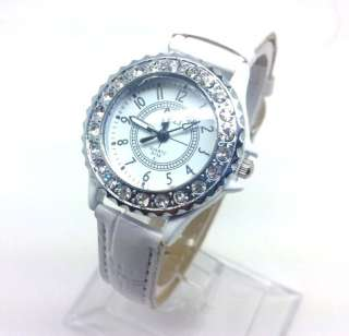 wristwatches quartz watch crystal womens watches leather band