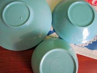 Aqua Turquoise Blue Melmac / Melamine Plastic Cups Bowls Saucers Retro