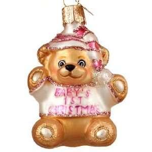 Babys First Christmas Teddy Bear   Girl Christmas