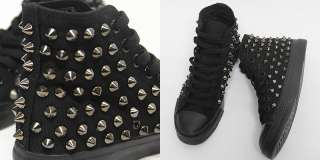 Metal Stud Spike Solid Black High Top Sneakers Shoes US 6~9