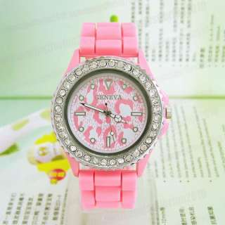 Pink Geneva Crystal Quartz Silicone Rubber Jelly Ladies Women Wrist