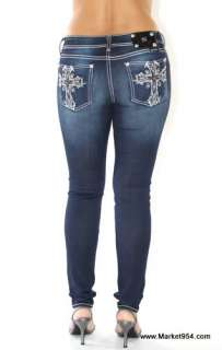 Skinny Miss Me Jeans Crystal Cross Thick Stitch Women Jeggings Navy