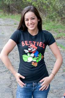 Nintendo Super Mario Yoshi Besties Black Juniors Graphic Tee Shirt
