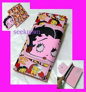 Betty Boop Pink Long Wallet Coins Purse Bag Women Girls Lady Leather