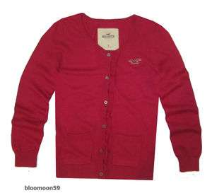 NWT Hollister Bettys Womens Pink Ruffle Button Cardigan Sweater Long