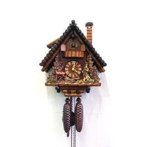 Cuckoo Clock Black Forest House, Hunter, Deer