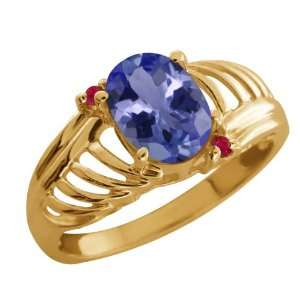 1.20 Ct Oval Blue Tanzanite Red Ruby 14K Yellow Gold Ring
