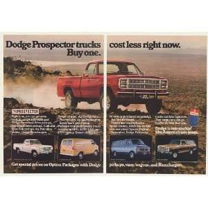 1979 Dodge Prospector Pickup Truck Van Ramcharger 2 Page Print Ad