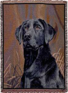 BLACK LAB Labrador Retriever DOG TAPESTRY THROW BLANKET