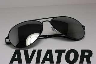 Premium Quality Metal Aviator Sunglasses BLACK Mirror