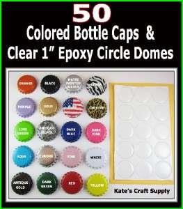EPOXY STICKERS & 50 COLOR BOTTLE CAPS KIT YOU CHOOSE COLORS
