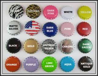 50 NEW WITH PRE DRILLED HOLE COLORED BOTTLE CAPS YOUR CHOICE OF *20