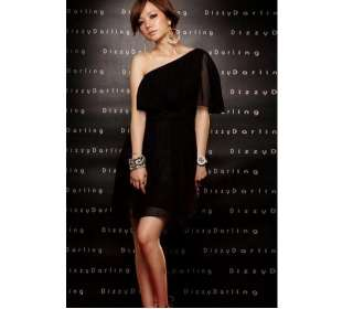ONE SHOULDER LAYERED CHIFFON MINI DRESS / BLACK
