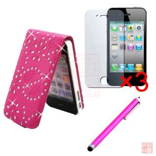 Damind Bling Leather Filp case Cover For iPhone 4S 4G+3xFilm Guard+Pen