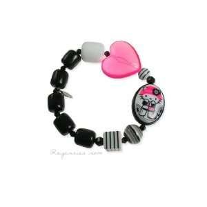 Tarina Tarantino Hello Kitty Pink Head Mod Heart Bracelet